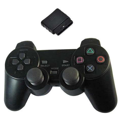 New Black Wireless Shock Game Controller for Sony PS2 Free