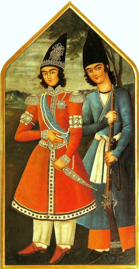 A Qajar prince and his attendant, oil painting, 1820 (or
