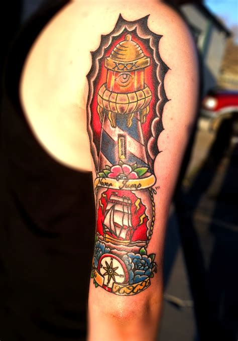 45+ Neo Traditional Lighthouse Tattoos