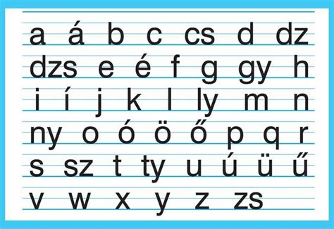 The Hungarian small letter alphabet