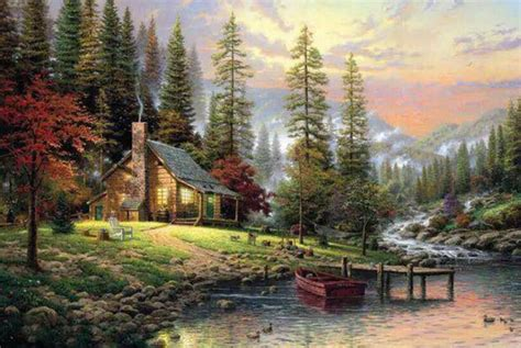 1000 piece House River Sunset Scenery Jigsaw Puzzle