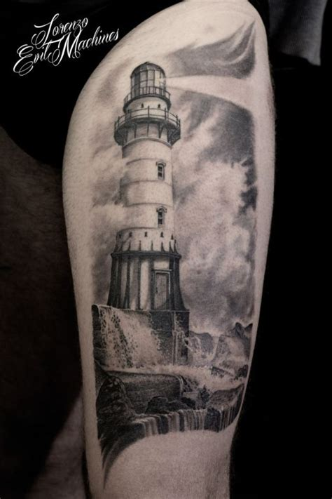 Lighthouse - Faro Realistic black and gray tattoo by