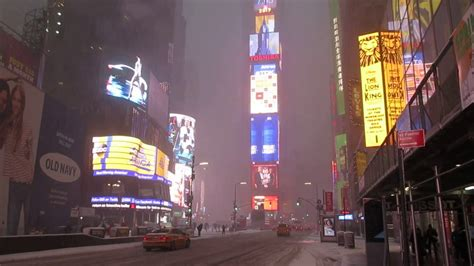 Good morning snowfall in Times Square NYC February 9th