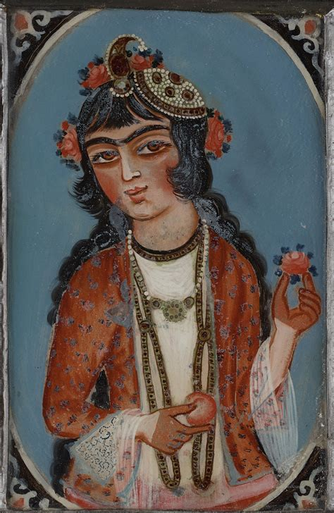 A Persian Glass painting from the Qajar dynasty